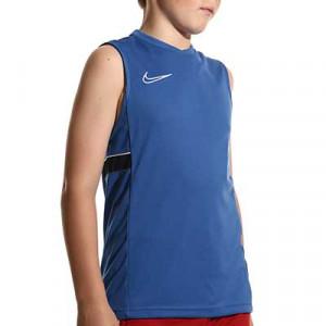 Camiseta tirantes Nike Dri-Fit Academy 21 niño - Camiseta sin mangas infantil de entrenamiento de fútbol Nike - azul - miniatura