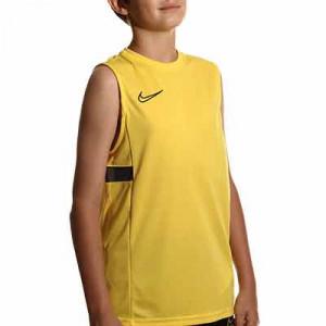 Camiseta tirantes Nike Dri-Fit Academy 21 niño - Camiseta sin mangas infantil de entrenamiento de fútbol Nike - amarilla - miniatura