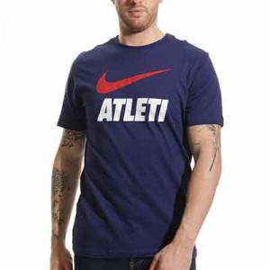 Camiseta algodón Nike Atlético Swoosh Club - Camiseta de algodón Nike del Atlético de Madrid - azul marino