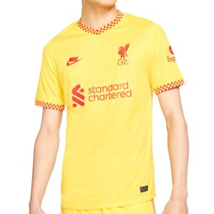 Camiseta Nike Liverpool 3a 2021 2022 Dri-Fit Stadium - Camiseta tercera equipación Nike del Liverpool FC 2021 2022 - amarilla