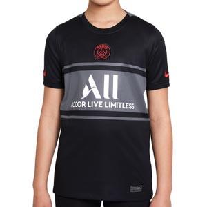 Camiseta Nike 3a PSG 2021 2022 niño Dri-Fit Stadium - Camiseta de la tercera equipación infantil Nike del París Saint-Germain 2021 2022 - negra