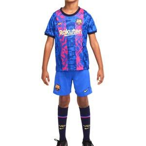 Equipación Nike 3a Barcelona niño 3 - 8 años 2021 2022 - Conjunto infantil de 3 a 8 años Nike tercera equipación FC Barcelona 2021 2022 - azul, rosa