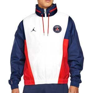 Cortavientos Nike PSG x Jordan Hoodie - Chaqueta cortavientos Nike x Jordan del París Saint-Germain - blanca, azul