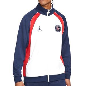 Chaqueta Nike PSG x Jordan paseo - Chaqueta chándal Nike x Jordan del París Saint-Germain - blanca y azul - frontal