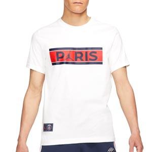 Camiseta Nike PSG Ignite - Camiseta de manga corta de algodón Nike del París Saint-Germain - blanca