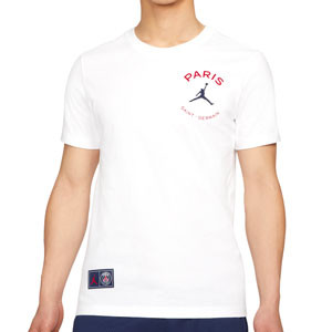 Camiseta algodón Nike PSG x Jordan Logo - Camiseta de manga corta de algodón Nike x Jordan Paris Saint-Germain - blanca