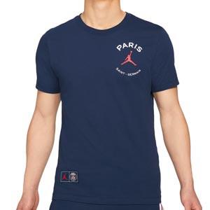 Camiseta algodón Nike PSG x Jordan Logo - Camiseta de manga corta de algodón Nike x Jordan Paris Saint-Germain - azul marino