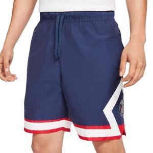 Short Nike PSG x Jordan Jumpman - Pantalón corto de calle de algodón Nike x Jordan del París Saint-Germain - azul marino - frontal