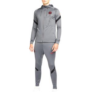 Chándal Nike PSG Dri-Fit Strike Hoodie UCL - Chándal de paseo Nike del Paris Saint-Germain de la Champions League 2021 2022 - gris oscuro