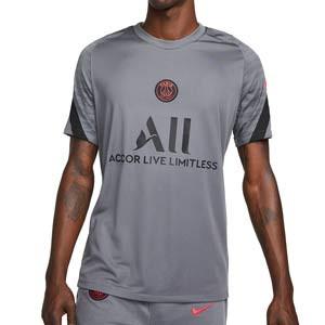 Camiseta Nike PSG entrenamiento Dri-Fit Strike UCL - Camiseta manga corta de entrenamiento Champions League Paris Saint-Germain 2021 2022 - gris oscura
