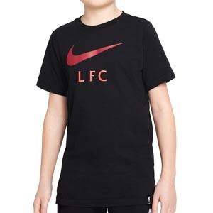Camiseta Nike Liverpool Swoosh Club niño - Camiseta infantil de algodón Nike del Liverpool - negra - frontal