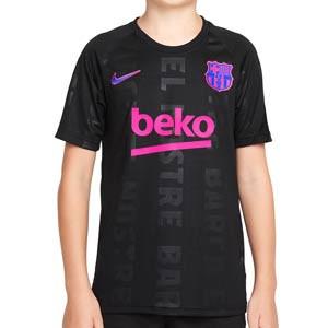Camiseta Nike Barcelona niño pre-match UCL - Camiseta infantil pre partido del FC Barcelona para la Champions League 2021 2022 - negra