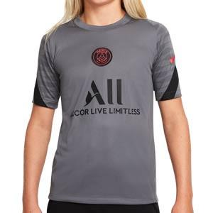 Camiseta Nike PSG entrenamiento niño Dri-Fit Strike UCL - Camiseta entrenamiento infantil Nike del París Saint-Germain 2021 2022 - gris oscura