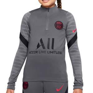 Sudadera Nike PSG entrenamiento niño Dri-Fit Strike UCL - Sudadera de entrenamiento infantil Nike del Paris Saint Germain Champions League 2021 2022 - gris oscura