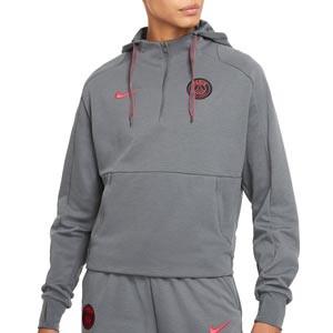 Sudadera Nike PSG mujer Travel Hoodie UCL - Sudadera con capucha de paseo para mujer Nike del París Saint-Germain de la Champions League 2021 2022 - gris oscura