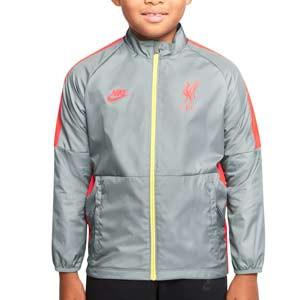 Chubasquero Nike Liverpool niño Dri-Fit Repel Academy UCL - Chaqueta impermeable infantil Nike del Liverpool de la Champions League 2021 2022 - gris