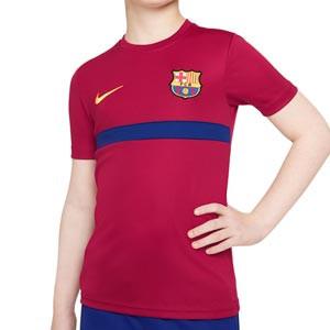 Camiseta Nike Barcelona entreno niño Dri-Fit Academy - Camiseta infantil de entrenamiento Nike del FC Barcelona - granate