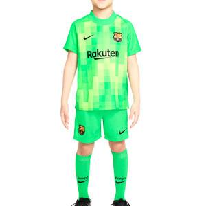 Equipación Nike Barcelona niño 3-8 años portero 21 22 - Conjunto infantil de 3 a 8 años Nike equipación de portero FC Barcelona 2021 2022 - verde