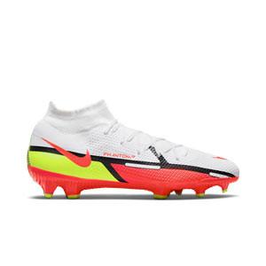 Nike Phantom GT2 Pro DF FG - Botas de fútbol con tobillera Nike FG para césped natural o artificial de última generación - blancas, rojas