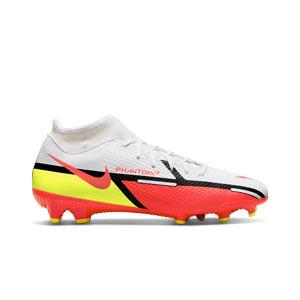 Nike Phantom GT2 Academy DF FG/MG - Botas de fútbol con tobillera Nike FG/MG para césped artificial - blancas, rojas