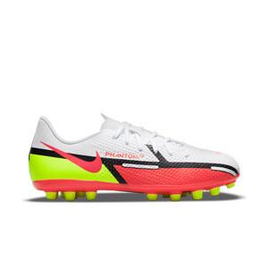 Nike Jr Phantom GT2 Academy AG - Botas de fútbol infantiles Nike AG para césped artificial - blancas, rojas
