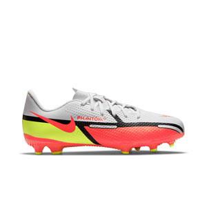 Nike Jr Phantom GT2 Academy FG/MG - Botas de fútbol infantiles Nike FG/MG para césped artificial - blancas, rojas