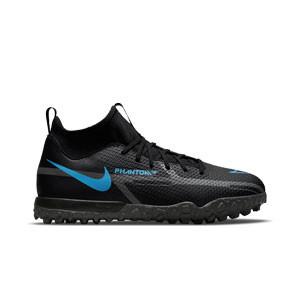 Nike Jr Phantom GT2 Academy DF TF - Zapatillas de fútbol infantiles multitaco con tobillera Nike suela turf - negras
