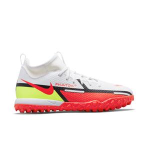 Nike Jr Phantom GT2 Academy DF TF - Zapatillas de fútbol infantiles multitaco con tobillera Nike suela turf - blancas, rojas