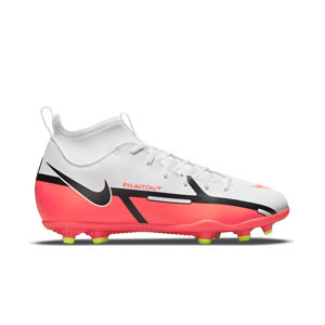 Nike Jr Phantom GT2 Club DF FG/MG - Botas de fútbol infantiles con tobillera Nike FG/MG para césped artificial - blancas, rojas