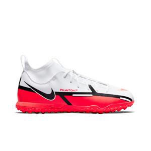 Nike Jr Phantom GT2 Club DF TF - Zapatillas de fútbol multitaco con tobillera Nike suela turf - blancas, rojas