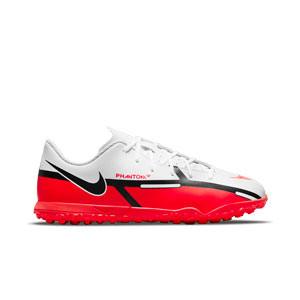 Nike Jr Phantom GT2 Club TF - Zapatillas de fútbol multitaco infantiles Nike suela turf - blancas, rojas