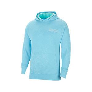 Sudadera Nike Barcelona Sportswear Hoodie Beach Wash - Sudadera con capucha de algodón Nike del FC Barcelona de la colección Beach Was - azul celeste - frontal