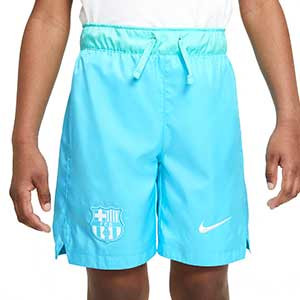 Short Nike Barcelona niño Woven Beach Wash Pack - Bermudas infantiles de paseo Nike del FC Barcelona de la colección Beach Wash Pack - azul celeste - frontal