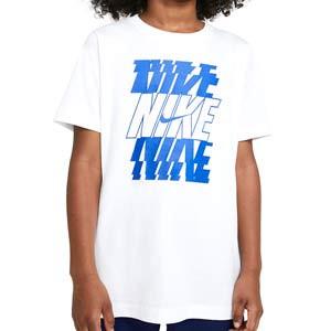 Camiseta Nike niño Sportswear Stack - Camiseta de manga corta infantil de algodón Nike para calle - blanca
