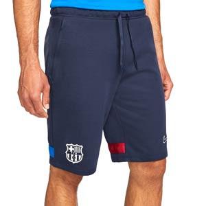 Short Nike Barcelona Dri-Fit Travel Fleece - Pantalón corto de algodón de paseo Nike del FC Barcelona - azul marino