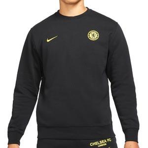 Sudadera Nike Chelsea Sportswear Club Crew - Sudadera de algodón de paseo Nike del Chelsea FC - negra