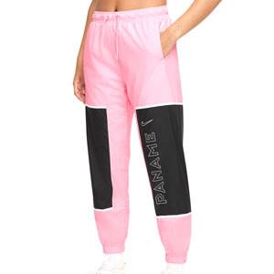 Pantalón Nike PSG mujer Woven Archive Remix - Pantalón largo de mujer Nike del París Saint-Germain - rosa pastel y negro