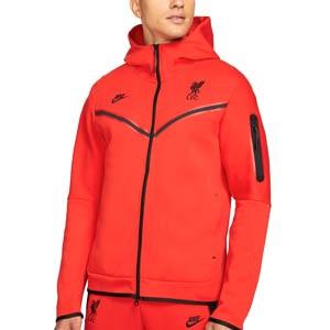 Sudadera Nike Liverpool Tech Fleece Hoodie - Sudadera con capucha de algodón Nike del Liverpool FC - roja