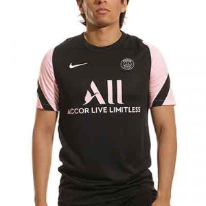 Camiseta Nike PSG entrenamiento Dri-Fit Strike - Camiseta de entrenamiento Nike del París Saint-Germain - negra y rosa pastel