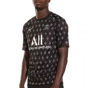 Camiseta Nike PSG pre-match - Camiseta de calentamiento prepartido Nike del París Saint-Germain - negra y rosa pastel