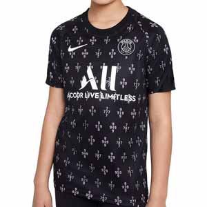 Camiseta Nike PSG pre-match niño - Camiseta de calentamiento prepartido infantil Nike del París Saint-Germain - negra y rosa pastel