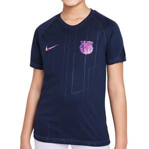 Camiseta Nike Barcelona pre-match niño - Camiseta calentamiento pre-partido infantil Nike del FC Barcelona - azul marino