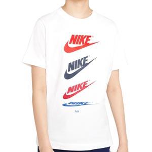Camiseta algodón Nike Sportswear niño Futura Repeat - Camiseta de algodón infantil Nike de calle - blanca - frontal