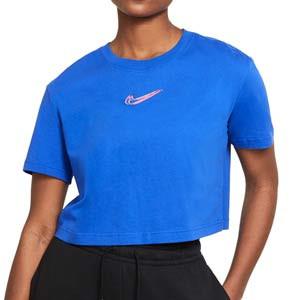 Camiseta Nike Sportswear mujer - Camiseta corta de algodón para mujer Nike - azul - frontal