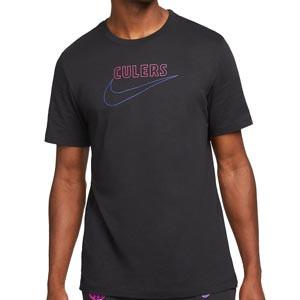 Camiseta Nike Barcelona Swoosh Club District Rising - Camiseta de algodón Nike del FC Barcelona - negra
