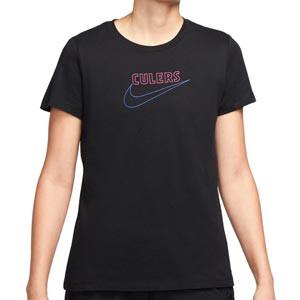 Camiseta Nike Barcelona mujer Swoosh Club District Rising - Camiseta de algodón para mujer Nike del FC Barcelona - negra