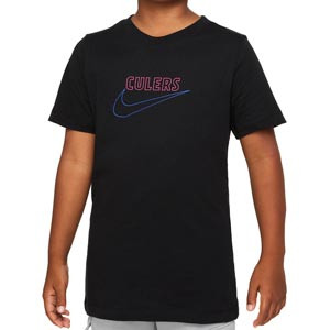 Camiseta Nike Barcelona niño Swoosh Club District Rising - Camiseta de algodón infantil Nike del FC Barcelona - negra