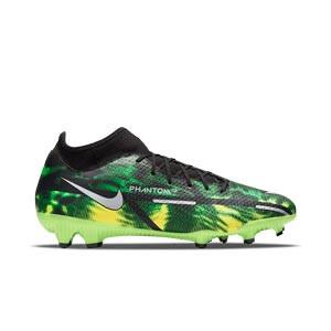 Nike Phantom GT2 Academy DF SW FG/MG - Botas de fútbol con tobillera Nike FG/MG para césped artificial - verdes, negras