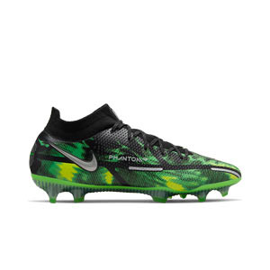 Nike Phantom GT2 Elite DF SW FG - Botas de fútbol con tobillera Nike FG para césped natural o artificial de última generación - verdes, negras