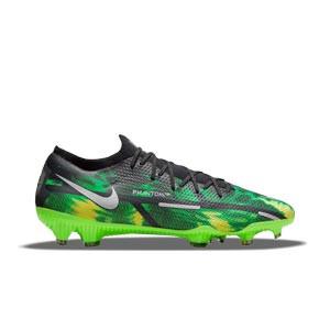 Nike Phantom GT2 Pro SW FG - Botas de fútbol con tobillera Nike FG para césped natural o artificial de última generación - verdes, negras
